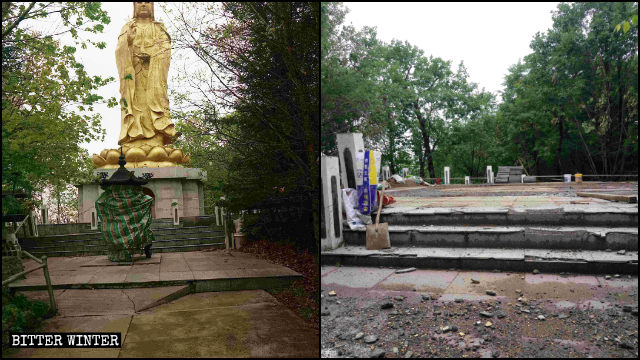 Linhai Guanyin statue before and after its demolition