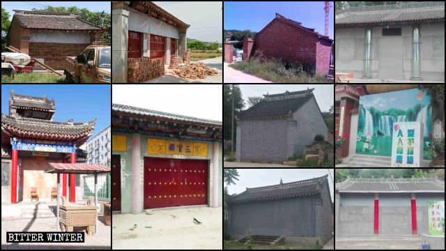 A great many temples are completely sealed and blocked in Baoxi city in Shaanxi Province