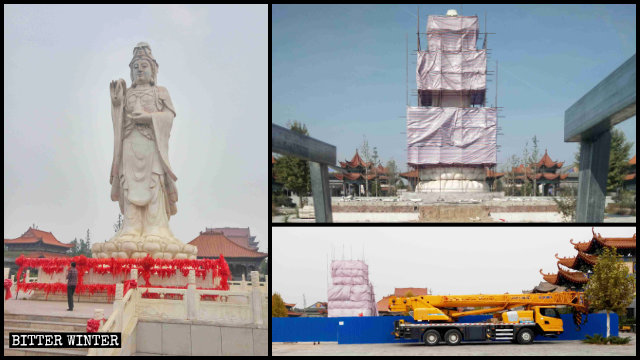 The local government are demolishing the white marble statue