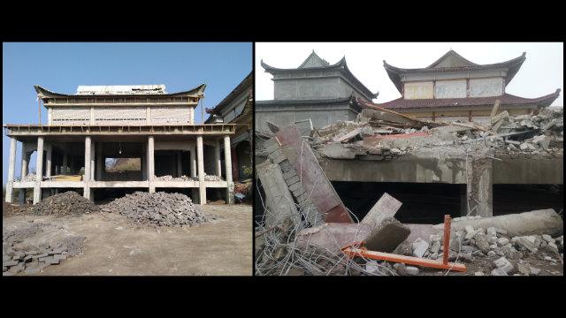 灵久寺正在建造的大厅被拆除。