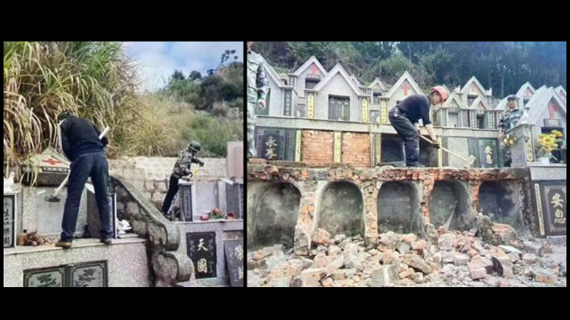 Christians' tombstones are being demolished.