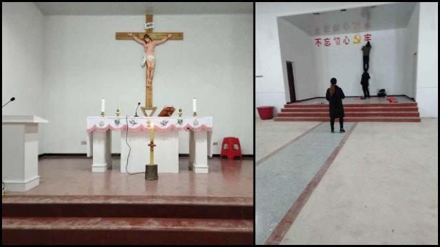 Um crucifixo em uma igreja da diocese de Yujiang foi substituído por um slogan de propaganda.