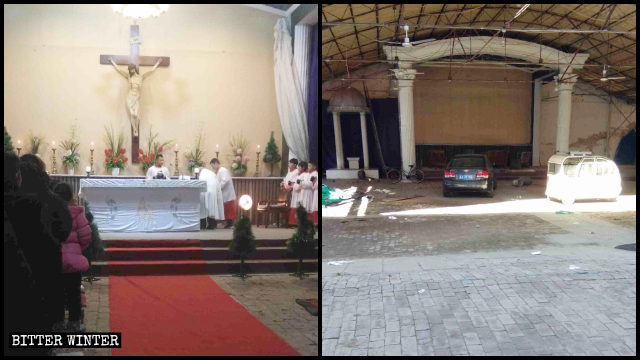 The Catholic church in Youtong village has been turned into a parking lot.