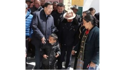 Wu Yingjie, Tibet's CCP secretary, visits Gyalaphug. Screenshot from Tibet Daily TV.