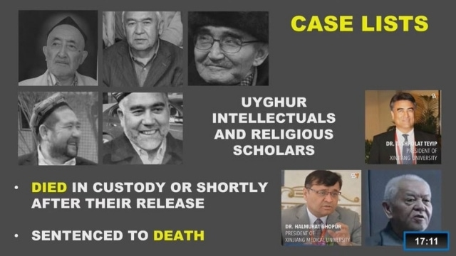 Bahram Sintash's presentation to the tribunal of intellectuals who have died or been sentenced to death by the CCP in Xinjiang.