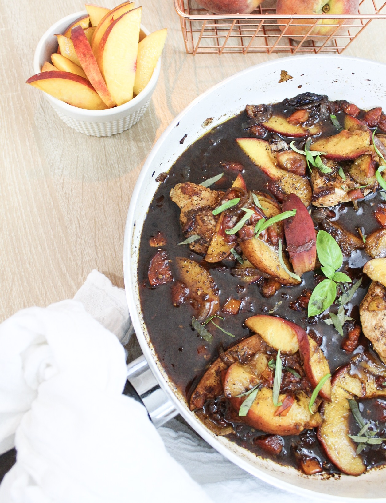 Peach Balsamic Basil Chicken