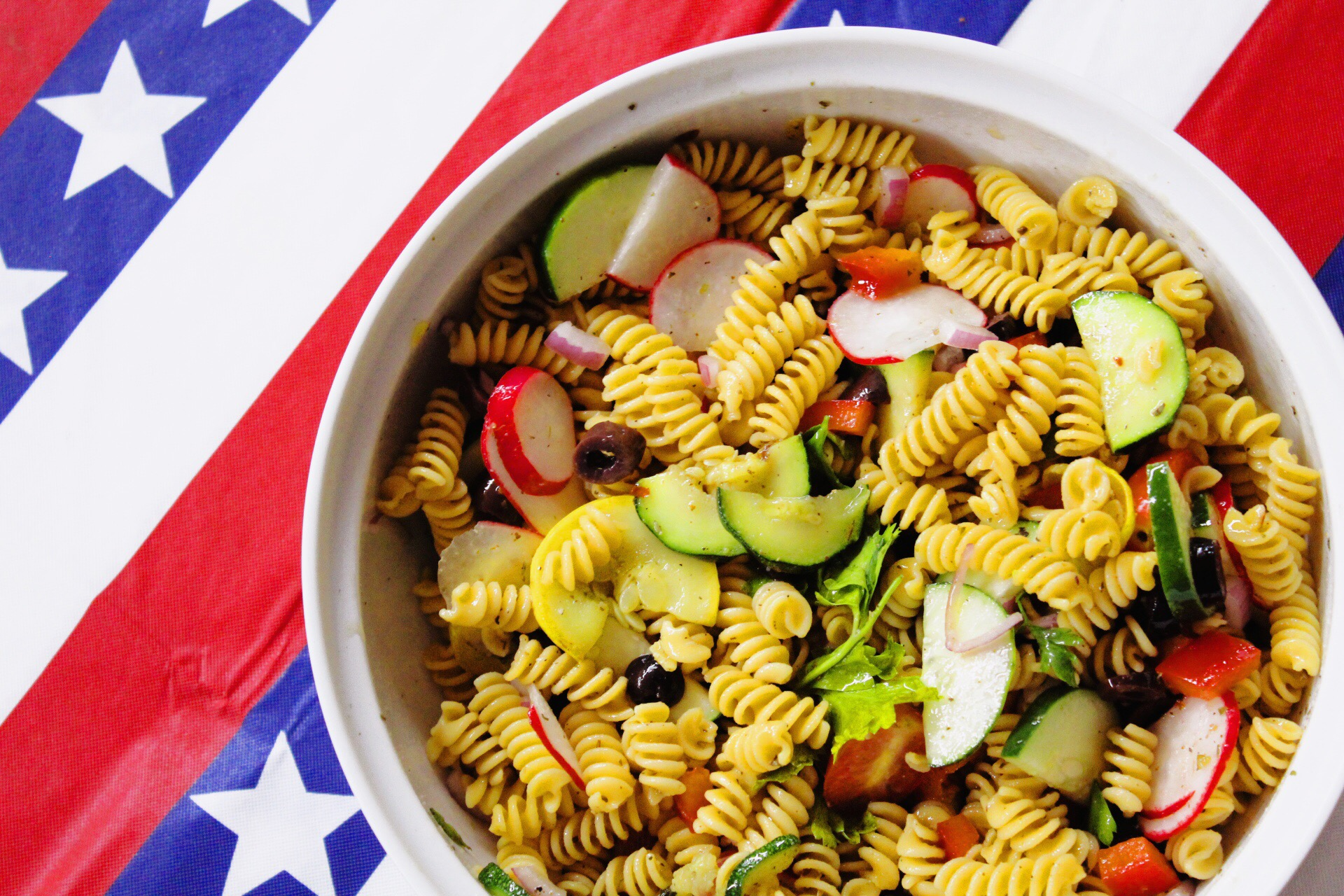 Healthy BBQ Tips with bonus recipe: Italian Veggie Chickpea Pasta Salad