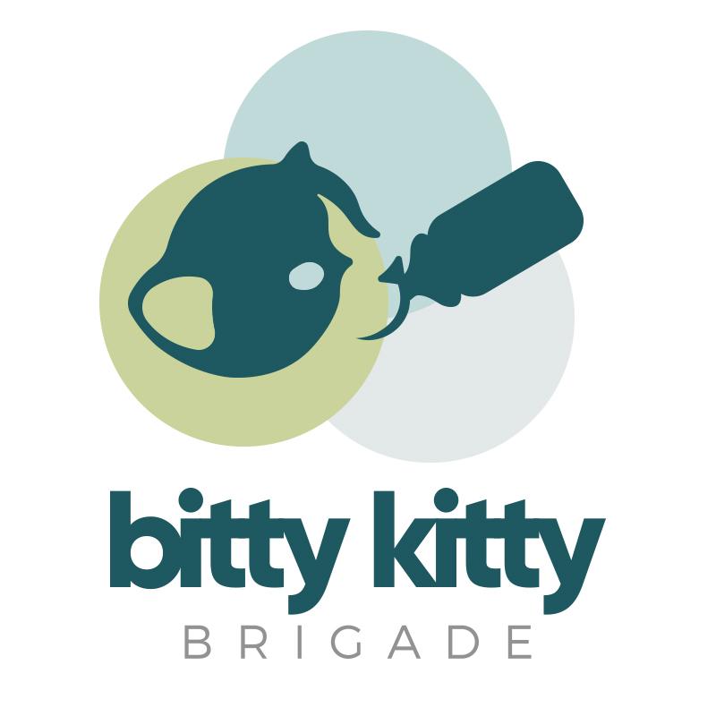 kitten with bottle - Bitty Kitty Brigade Logo