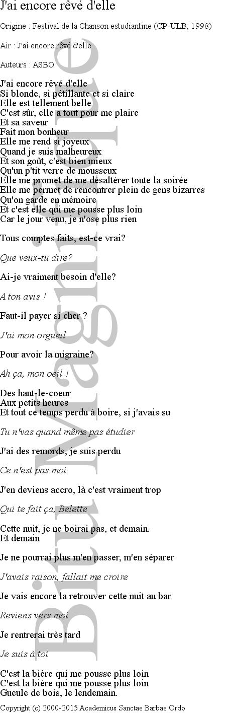 J'en Reve Encore Paroles : encore, paroles, Chants, Vivier
