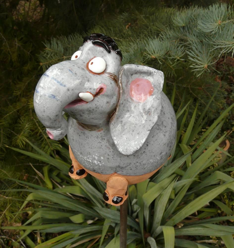 Elefant Gartenstecker Gartenfigur Garten Design Figur Keramik