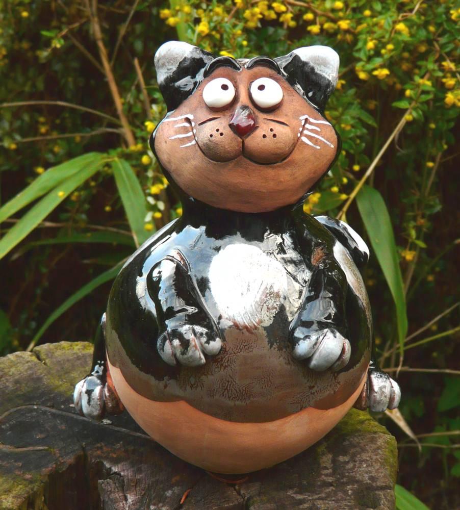 Katze Gartenstecker Gartenfigur Garten Design Figur Keramik