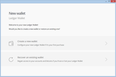 Select create a new wallet or recover an existing wallet