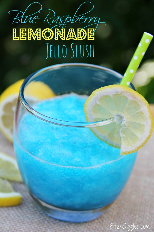 Blue Raspberry Lemonade Jello Slush - a cool and beautiful refreshing drink perfect for summer parties and BBQs!