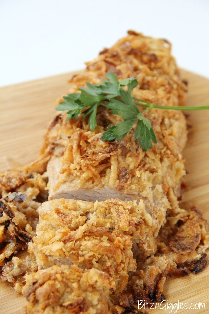 Onion-Crusted Pork Tenderloin - A mouth-watering pork tenderloin encrusted in French fried onions and drizzled with golden mushroom sauce.