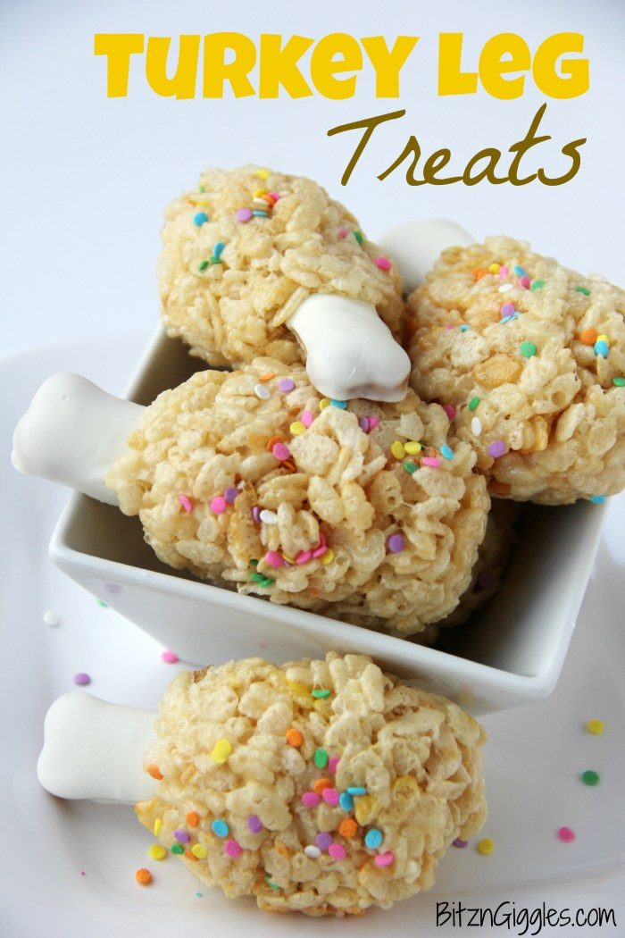 Turkey Leg Treats - A super fun Thanksgiving twist on rice krispie treats that will delight the kids.