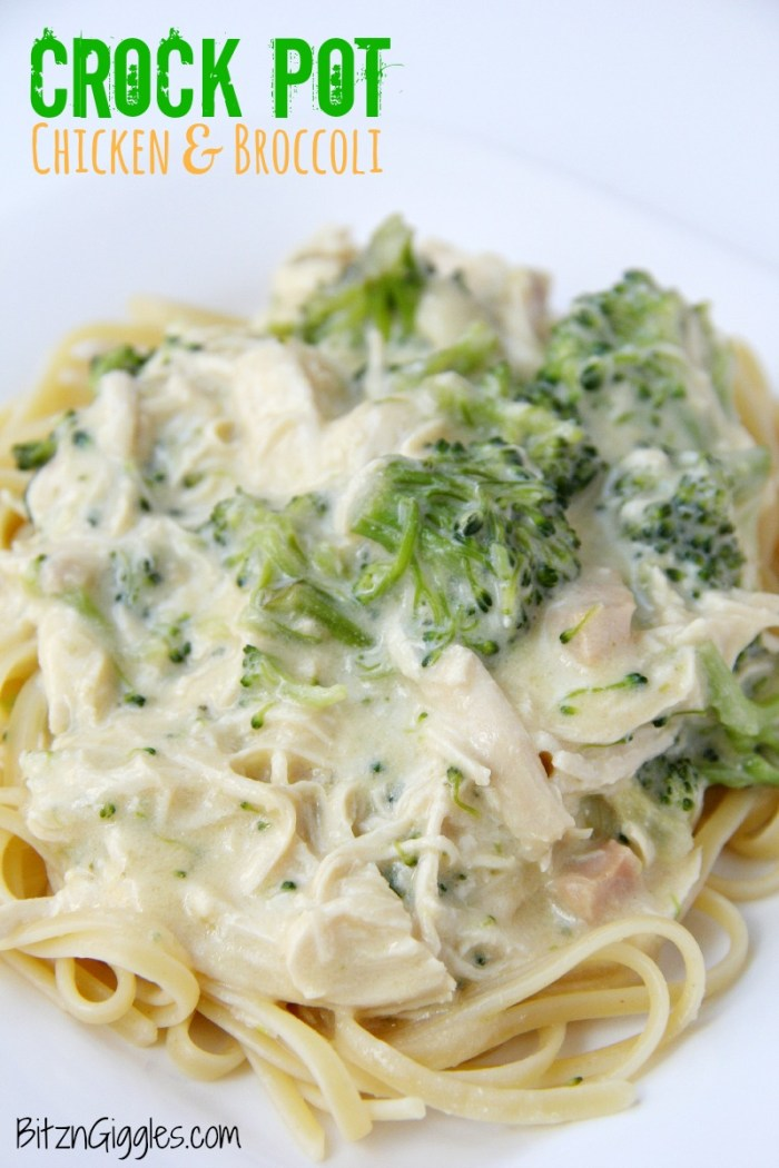 Crock Pot Chicken & Broccoli - Chicken and broccoli is combined in a creamy and cheesy sauce, perfect for topping noodles or rice!