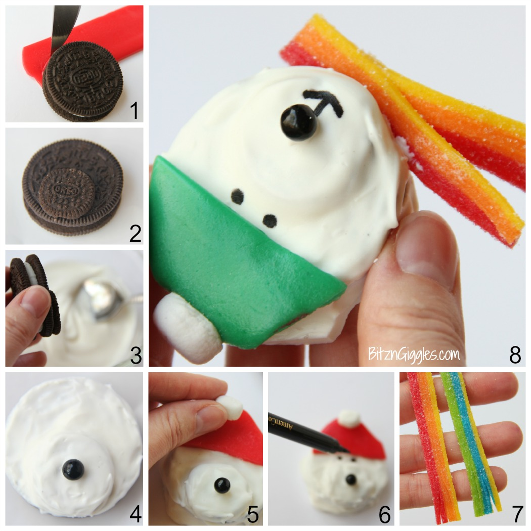 Polar Bear Cookie Treats - Confectionary coating and delicious accessories keep these cute little sandwich cookie bears warm and ready to bring smiles and laughter to dessert time!