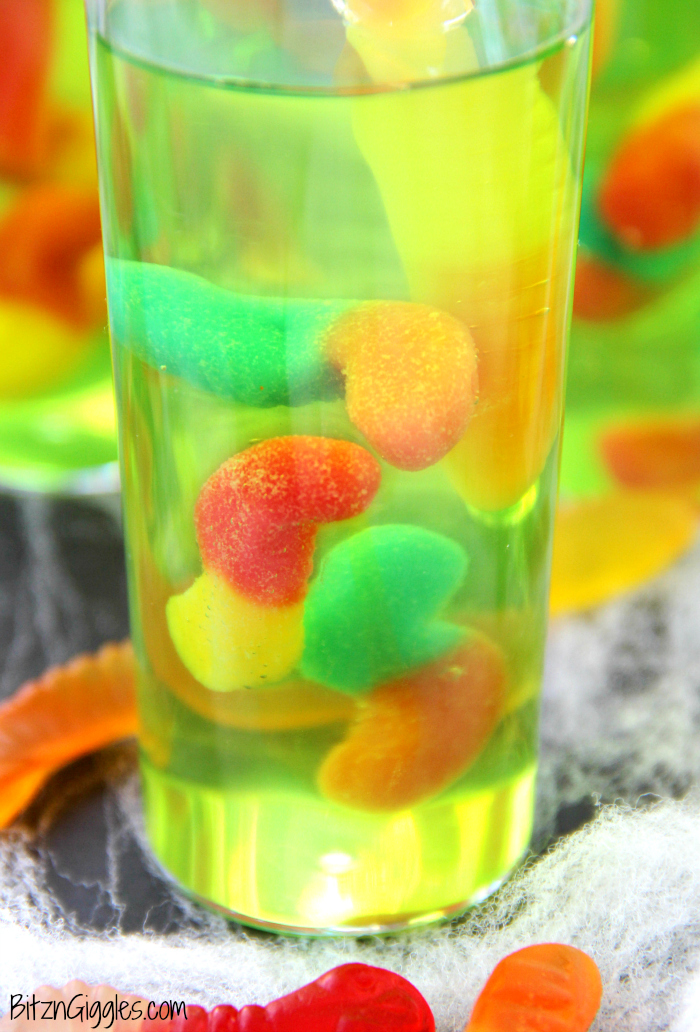 Gummy worm jello shooters for Halloween green punch recipes alcoholic