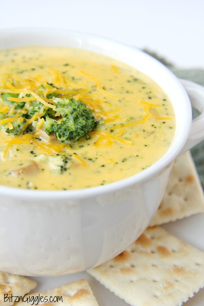 Cheesy Broccoli Soup- This cheesy, comforting and delicious soup goes perfectly alongside sandwiches and salads!