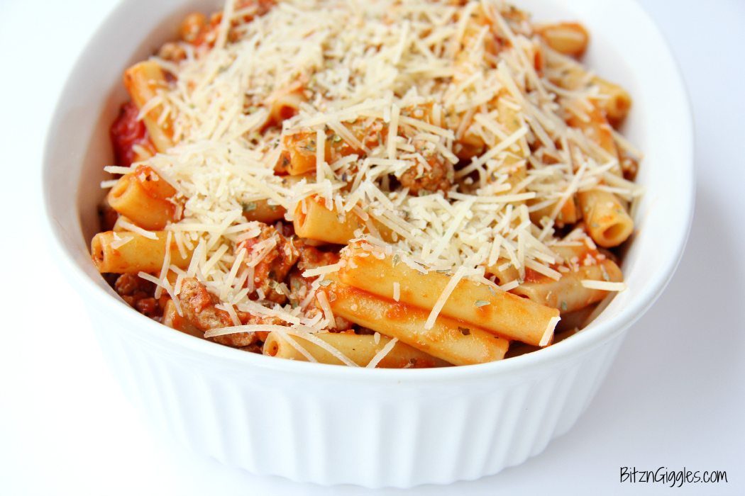 Baked Ziti - A classic, comforting dish featuring ground turkey, pasta, sauce and parmesan cheese. Perfect for a family meal or entertaining a small group!