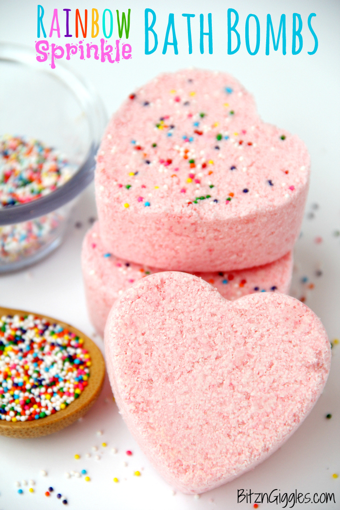 Rainbow Sprinkle Bath Bombs - Watch the rainbow appear when these bath bombs hit the water and start to fizz! They smell great, they're fun to make and they're soothing to the skin!