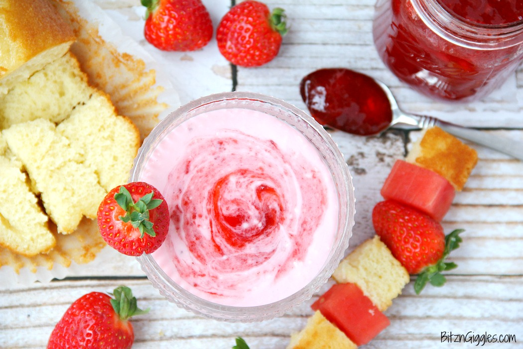 Strawberry Shortcake Dip - This dip comes together in minutes! Swirl in your favorite strawberry jam, cut up some fruit and cake and start dipping!
