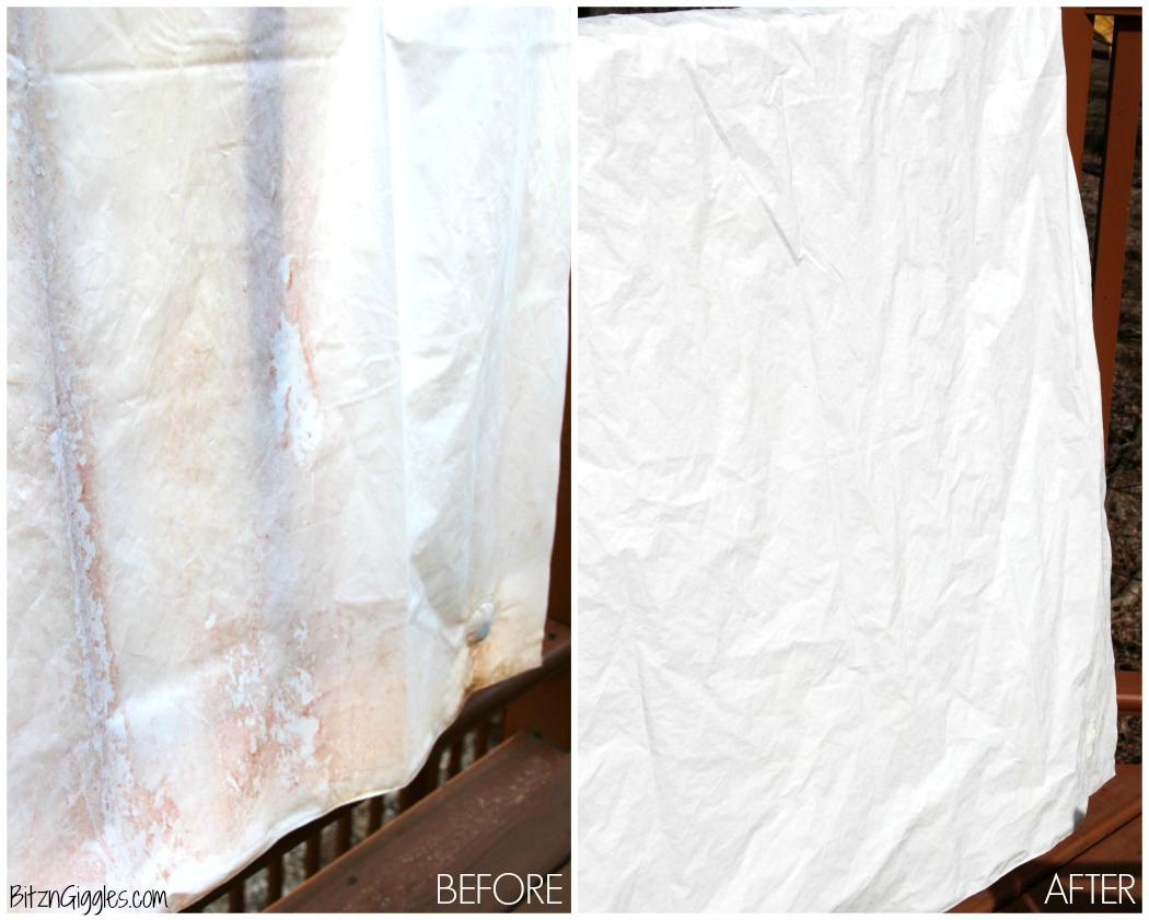 How to Clean a Vinyl Shower Curtain - Stop throwing away your grimy vinyl shower curtains and liners! You can clean them simply with ingredients you have at home! Soap scum and mildew just disappear, leaving your curtain looking like new again!