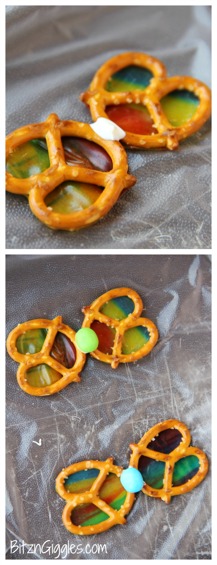 Pretzel Butterflies - 4-Ingredient beautiful butterflies to snack on! Rollups act as the colorful wings and give a gorgeous stained glass effect. So pretty when held up to the sun!