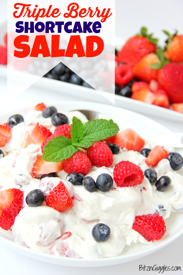 Triple Berry Shortcake Salad - Such an easy and delicious summer salad loaded with berries and hints of shortcake. Perfect for Memorial Day and 4th of July!!