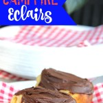 Easy Campfire Eclairs - Crescent roll dough wrapped around roasting forks then filled with pudding and topped with chocolate frosting! Such a great camping treat