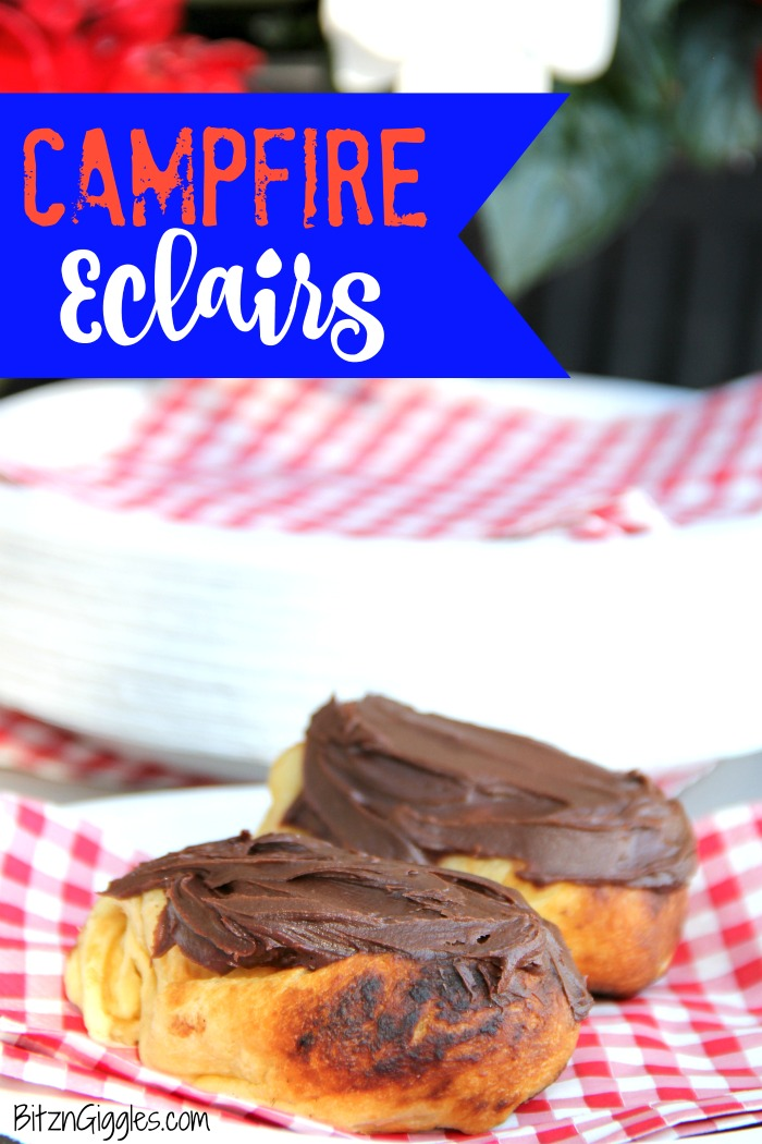 Easy Campfire Eclairs - Crescent roll dough wrapped around roasting forks, browned over the campfire, then filled with pudding and topped with chocolate frosting! Such a great camping treat!