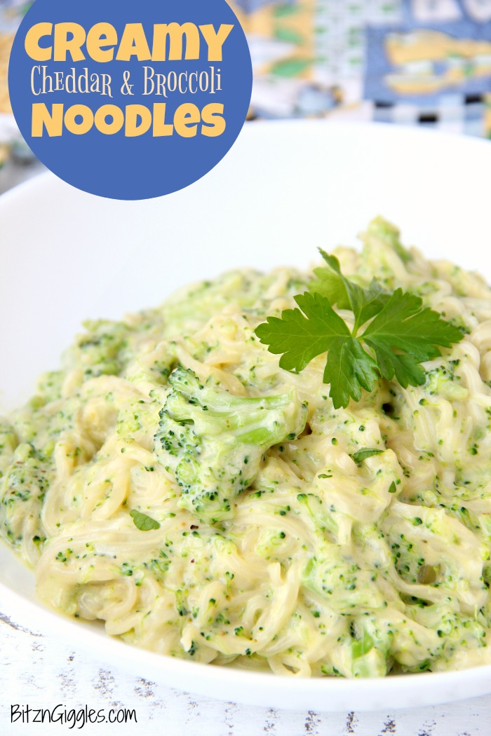 Creamy Cheddar and Broccoli Noodles - A deliciously creamy pasta side dish the whole family will love!