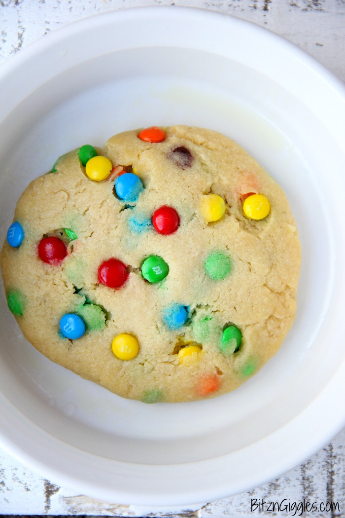 M&M Microwave Cookie - A soft, warm and delicious cookie you can make right in the microwave in less than 2 minutes!! Perfectly portioned for one or two!