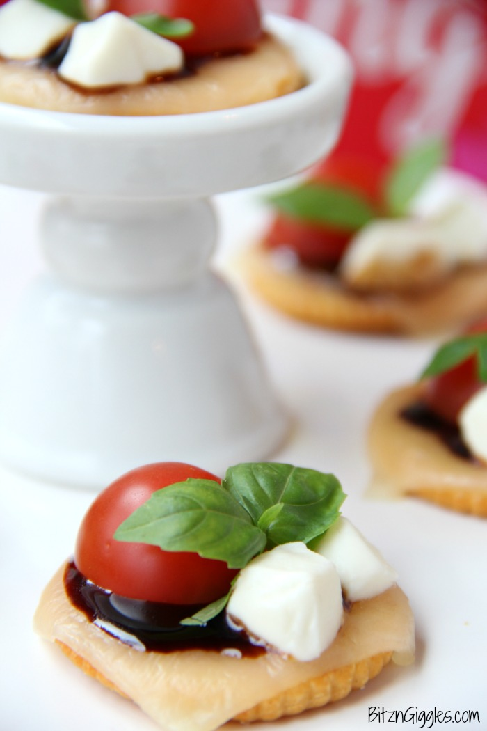 Ritz Cracker Caprese Bites - A 5-ingredient appetizer that's fresh, light and perfect for a party or celebration!