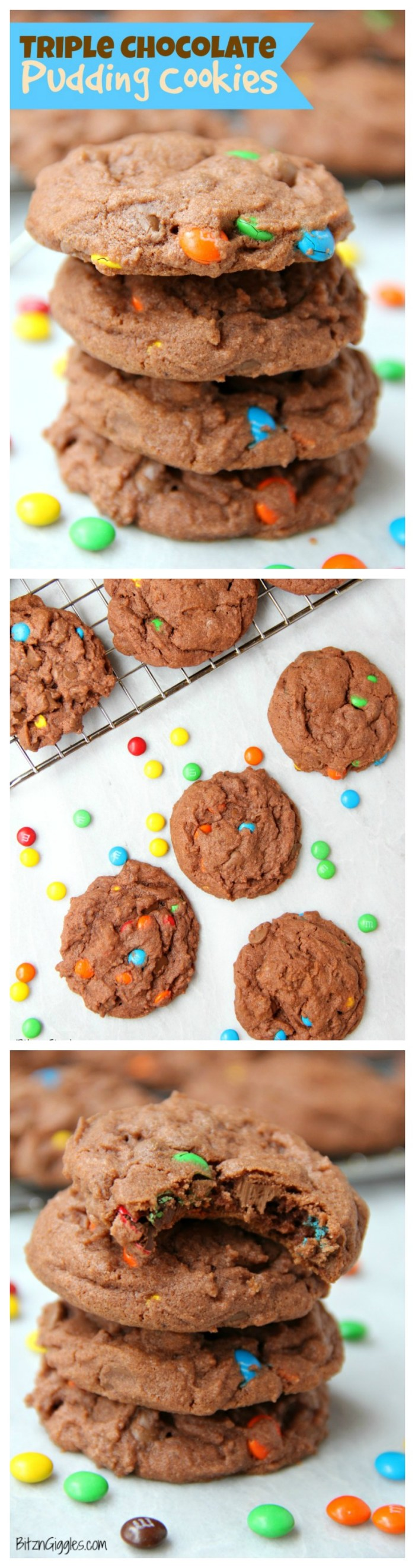 Triple Chocolate Pudding Cookies - Chewy, chocolaty, candy-filled cookies that use pudding as a secret ingredient to keep them nice and soft!