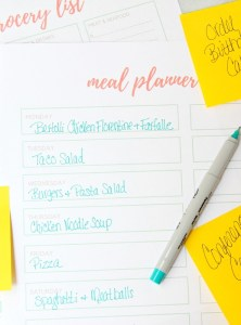 Printable Meal Planner & Grocery List