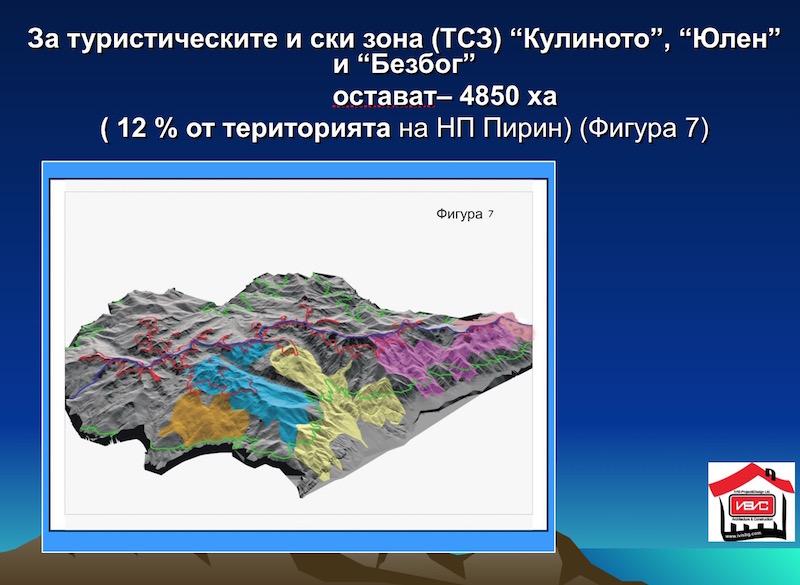 Новите зони от Национален Парк Пирин предвидени за ски съоръжения са в жълто и оранжево. В синьо е зоната на Юлен.