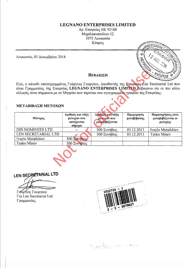 През декември 2014 г. Георгиус Георгиу продава на Цеко Минев и Ивайло Мутафчиев фирма, която държи 8% от акциите на ПИБ.