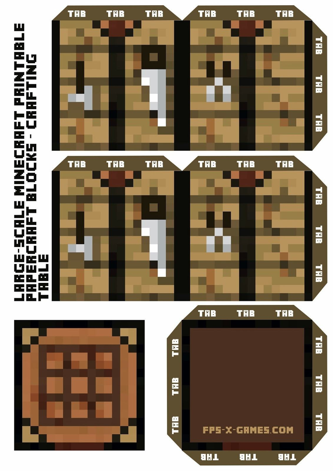 Printable Minecraft Papercraft Crafting Table Printable Papercrafts Printable Papercrafts