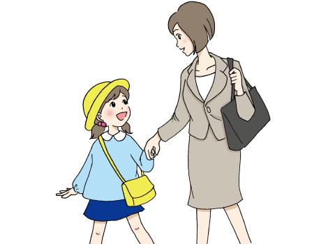 女の子の手を引いて出勤する女性