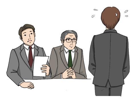 2人の男性面接官と、緊張気味で面接を受ける若い男性