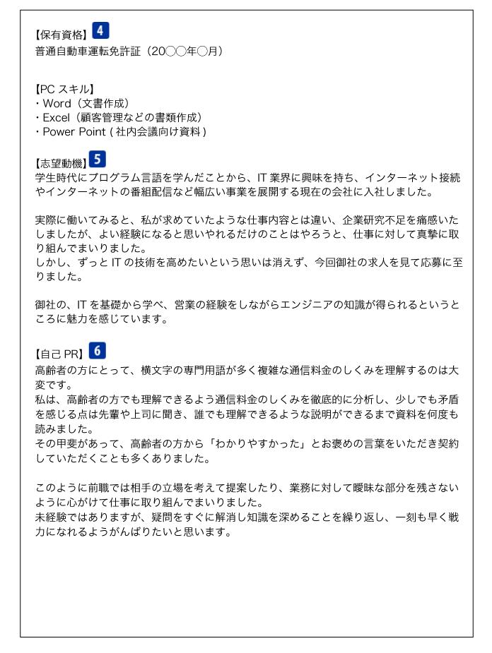 職務経歴書(保有資格・志望動機・自己PR)