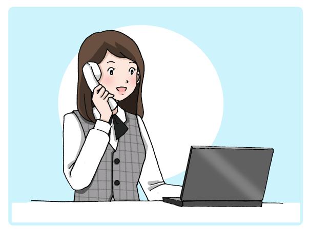 電話を取る事務職の女性