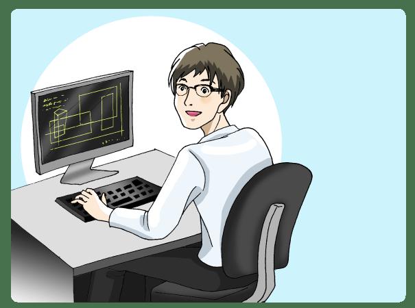 パソコンで設計をする男性