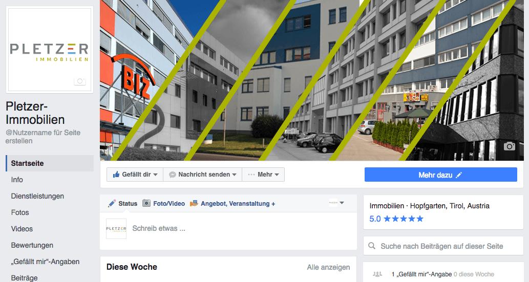 Auszug Facebook-Seite Pletzer Immobilien