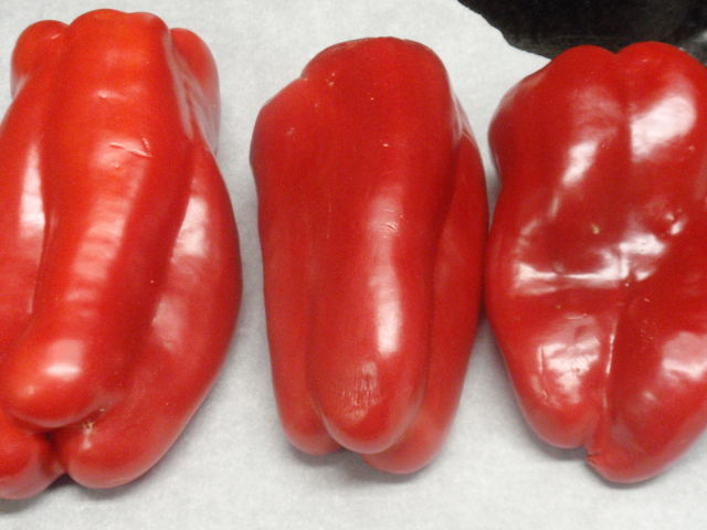 I chose three of the biggest peppers from my loot