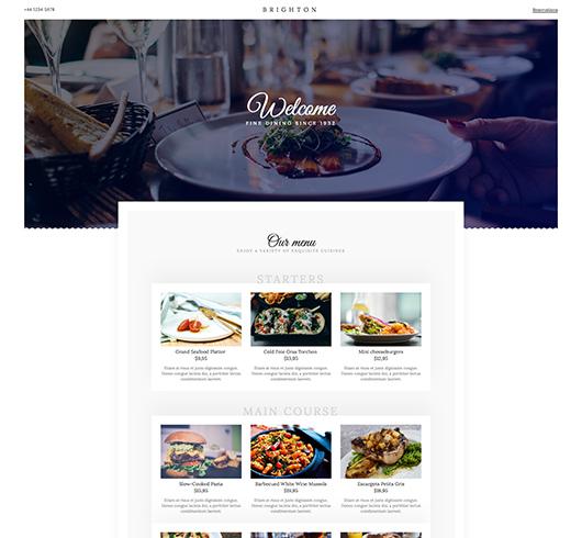 Brighton Restaurant website design template icon