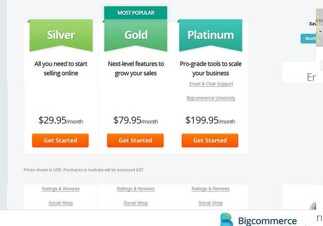 BigCommerce packages pricing