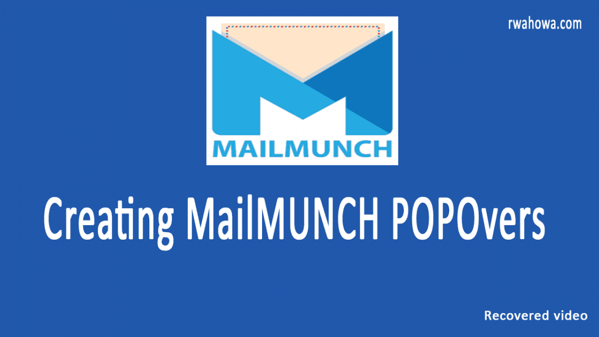 Creating a MailMunch popover - The crashed and recovered video