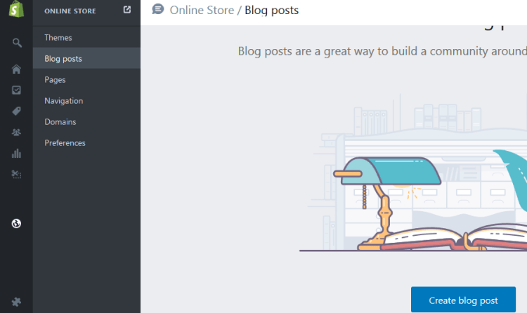 Here is where you create blog posts in shopify